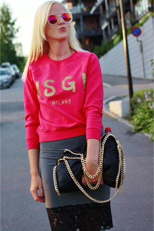 black Stella McCartney bag - red MSGM sweatshirt - gray asos skirt