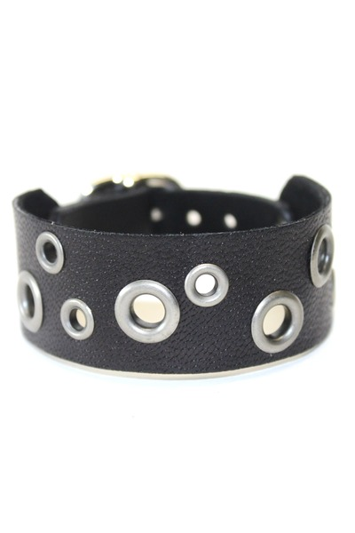 black black leather Birdhouse Designs bracelet
