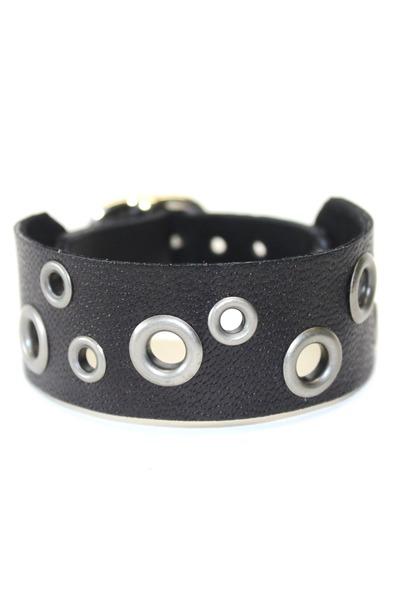 black black leather Birdhouse Designs bracelet