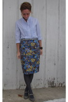 pencil Anthropologie skirt - button up JCrew blouse - suede Target heels - JCrew