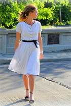 chiffon Kristina J dress - canvas Payless wedges - white American Eagle watch