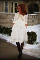 Mia boots - silk Anthropologie dress - cadet booties Claires tights - v-neck Ant