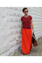 aviator Loft sunglasses - Fossil bag - maxi Loft skirt - stripe Loft top