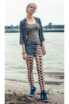 top - tights - navy Adidas sneakers - blouse