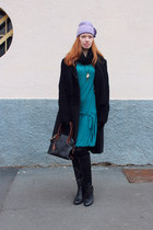 teal drop-waist Love Moschino dress - black Geox boots