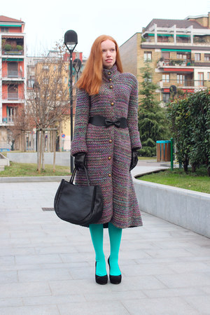 black Marni bag - puce MALO coat - aquamarine Marni tights