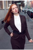 white Comme des Garcons for H&M shirt - dark brown tse suit