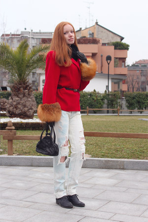 red dior coat - navy carlo pazolini shoes - periwinkle J Brand jeans