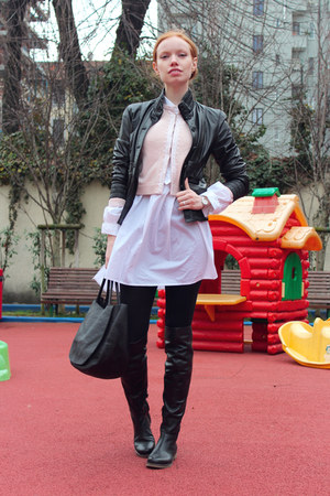 black Pollini jacket - black Bruno Magli boots - white By Malene Birger shirt