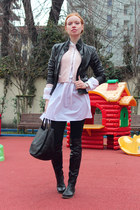 black Pollini jacket - black Bruno Magli boots - white By Malene Birger shirt