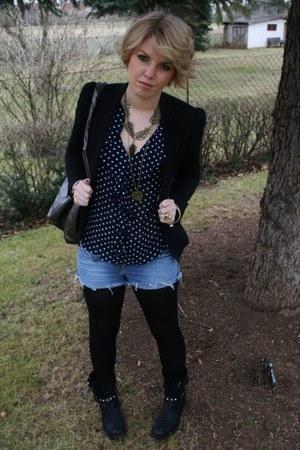 black Buffalo boots - black H&M blazer - silver Mango bag