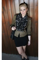 olive green Mango blazer - heather gray FootSpring shoes - black Zara bag