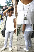 white v-neck bench shirt - charcoal gray messengers bag Dolce & Gabanna bag