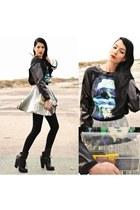 romwe sweatshirt - Choies boots - MINUSEYCOM bag - romwe skirt