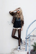 Nasty Gal jacket - One Teaspoon shorts - Nasty Gal sunglasses - Chaser t-shirt