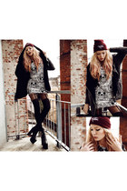 SirenLondon dress - treylius hat - tightsplease tights - romwe cardigan
