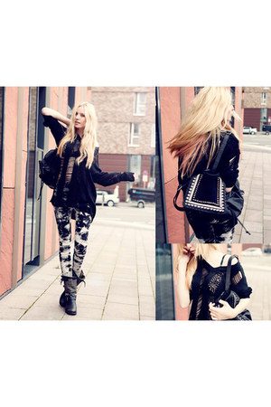 studded SoleStruck boots - romwe leggings - black Modekungen bag