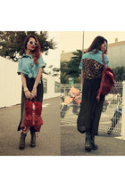 brick red aztec Chicwish bag - black Choies boots - sky blue leo indressme shirt