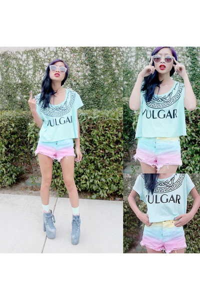light blue vulgar top BOTB top - sky blue hellbound shoes