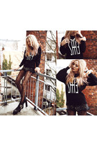 romwe tights - black girldivision sweater - black Coal N Terry Vintage shorts