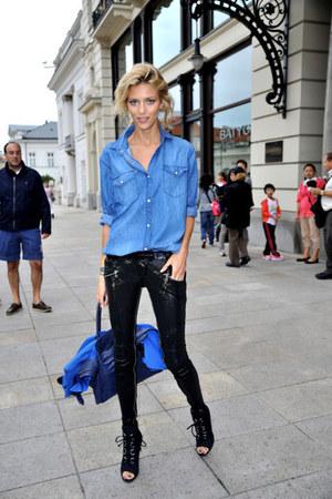 blue denim shirt asos shirt - black Zara shoes - black Zara pants