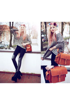 carrot orange Grafea bag - black Missguided boots - black romwe leggings