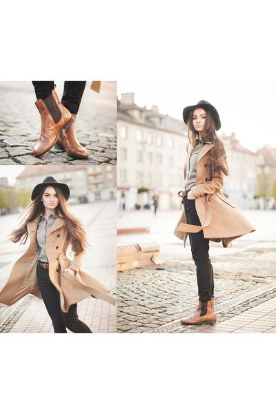 camel H&M coat - tawny vagabond boots - black Glitter hat