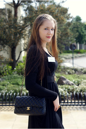 black Zara dress - black Chanel purse - gold Gucci belt - gold Just Cavalli acce