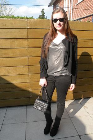black H&M jacket - silver Rue Blanche shirt - black H&M pants - black new look s