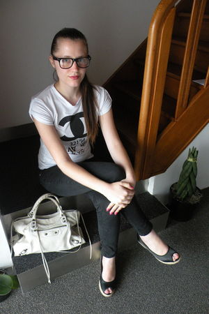white Mondo Futuro shirt - black H&M pants - black H&M shoes - white balenciaga