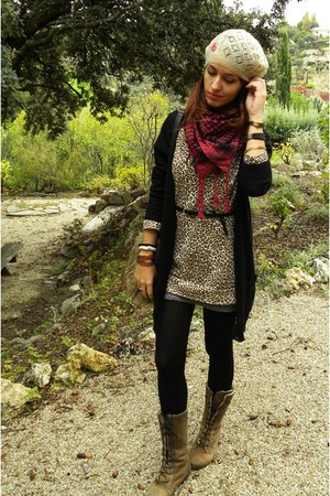 black H&M cardigan - camel Coolway boots