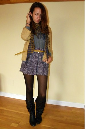 vintage cardigan - carrefour scarf - H&M pants - Primark belt