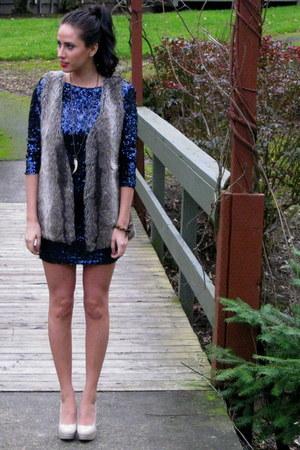 thrifted vintage bracelet - sequin rubber ducky dress - faux fur Nordstrom vest