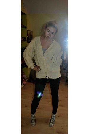 black Zara leggings - gray ASH shoes - white vintage blazer