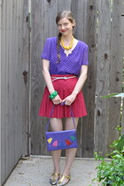 deep purple thrifted purse - ruby red thrifted skirt