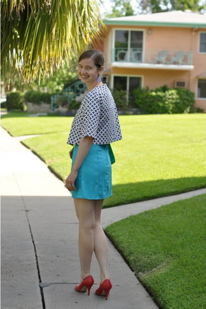 dark brown swapped jacket - aquamarine silk DIY dress - green thrifted purse