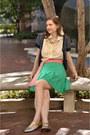 Gold-thrifted-flats-green-thrifted-tennis-skirt-red-thrifted-belt
