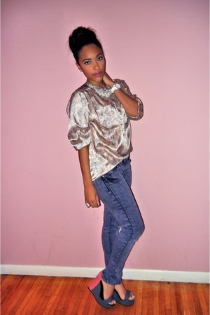 light pink printed blouse - light purple jeans - gray colorblock wedges