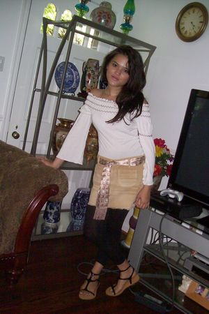 beige skirt - black Forever 21 shoes - black Forever 21 leggings - white blouse