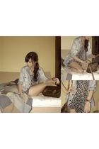 blue What A Girl Wants top - blue Topshop blazer - brown Louis Vuitton accessori