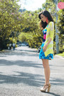 Sky-blue-house-of-eva-dress-lime-green-wagw-cardigan-white-aldo-heels