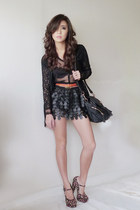 black WAGW bag - black WAGW cardigan - black WAGW top - black WAGW skirt - black