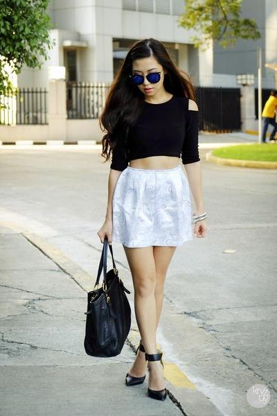 black Dresscode Project top - white WAGW skirt