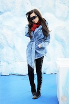 black romwe leggings - blue natural color jacket - black Zero UV sunglasses