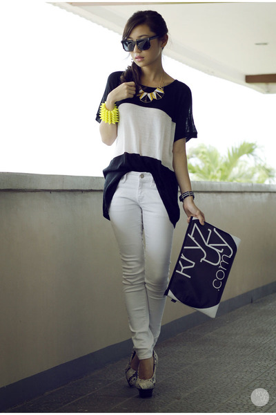 black snupped bag - white Yesstyle jeans - yellow House Of Luxe bracelet