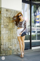 white mint shorts - heather gray mint top