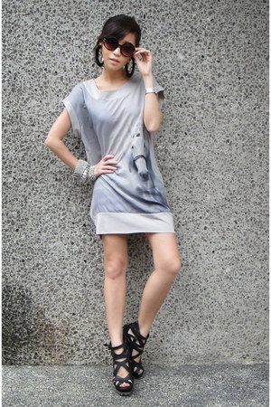 black Pedro heels - heather gray felicee dress - silver sm accessories bracelet
