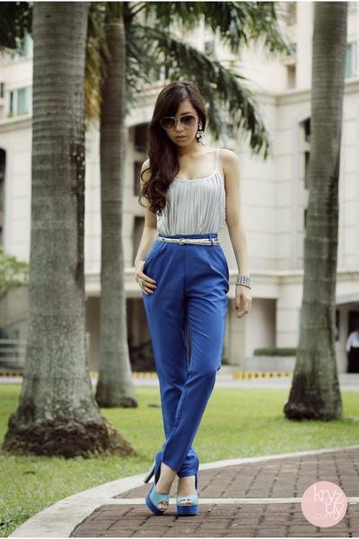 blue SM pants - silver WAGW earrings - blue Sugarfree heels