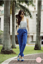 blue SM pants - silver WAGW earrings - blue Sugarfree heels