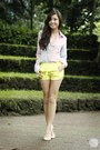 Chartreuse-romwe-shorts-light-pink-covetz-top-eggshell-zara-flats